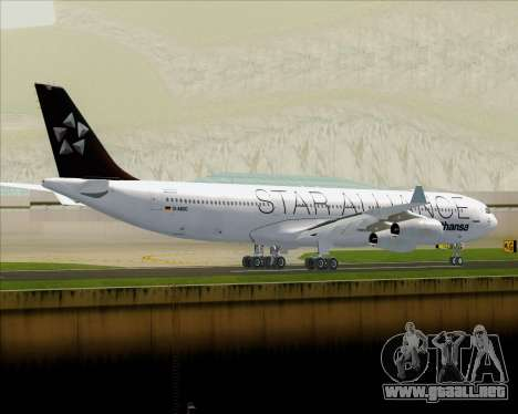 Airbus A340-300 Lufthansa (Star Alliance Livery) para GTA San Andreas vista hacia atrás