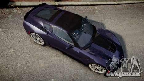 Chevrolet Corvette Z06 2015 TireMi4 para GTA 4 visión correcta