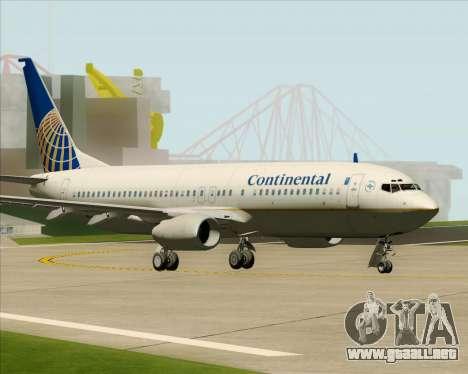 Boeing 737-800 Continental Airlines para GTA San Andreas vista posterior izquierda