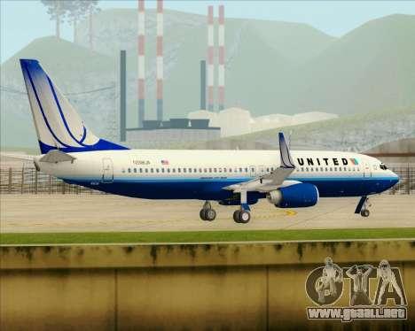 Boeing 737-800 United Airlines para vista inferior GTA San Andreas