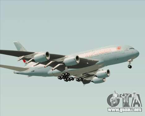 Airbus A380-800 Air Canada para vista inferior GTA San Andreas