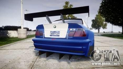 BMW M3 E46 GTR Most Wanted plate Liberty City para GTA 4 Vista posterior izquierda