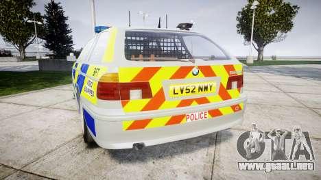BMW 525i E39 Touring Police [ELS] BTV para GTA 4 Vista posterior izquierda