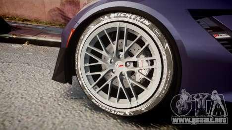 Chevrolet Corvette Z06 2015 TireMi4 para GTA 4 vista hacia atrás