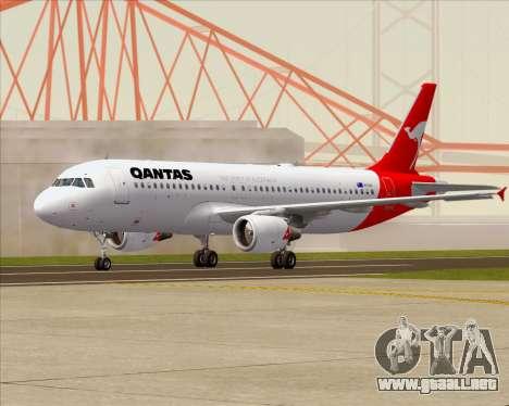 Airbus A320-200 Qantas para GTA San Andreas vista posterior izquierda