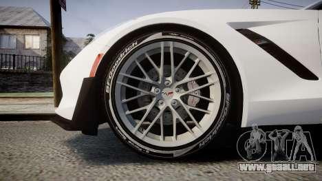 Chevrolet Corvette Z06 2015 TireBFG para GTA 4 vista hacia atrás