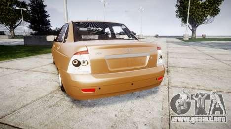 ВАЗ-2170 Instalado Priora de Calidad para GTA 4 Vista posterior izquierda