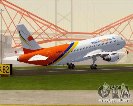 Airbus A320-200 Airphil Express para vista inferior GTA San Andreas