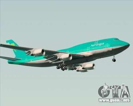 Boeing 747-400 Aer Lingus para GTA San Andreas vista posterior izquierda