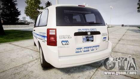 Dodge Grand Caravan [ELS] Liberty County Sheriff para GTA 4 Vista posterior izquierda
