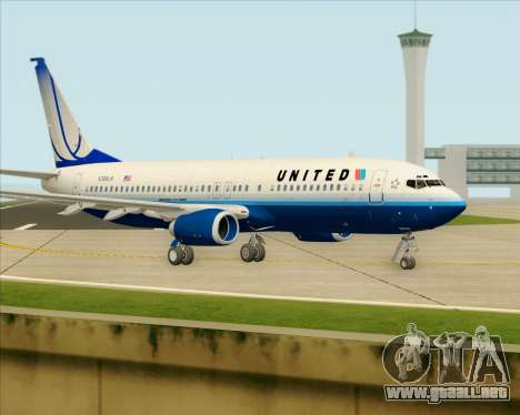 Boeing 737-800 United Airlines para GTA San Andreas vista posterior izquierda