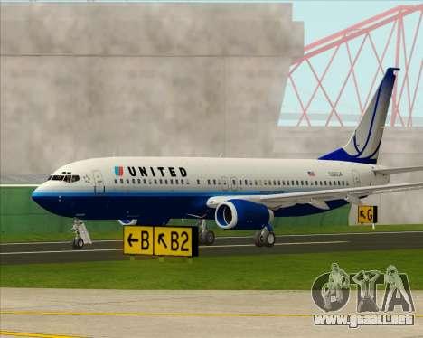 Boeing 737-800 United Airlines para vista lateral GTA San Andreas