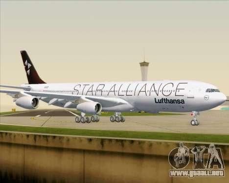 Airbus A340-300 Lufthansa (Star Alliance Livery) para vista inferior GTA San Andreas