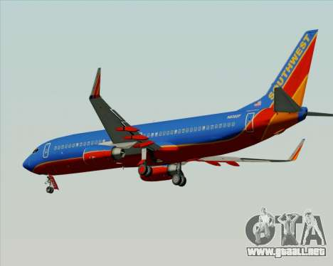 Boeing 737-800 Southwest Airlines para GTA San Andreas vista posterior izquierda