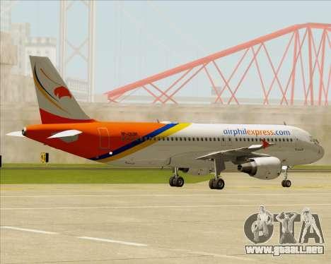 Airbus A320-200 Airphil Express para GTA San Andreas vista hacia atrás