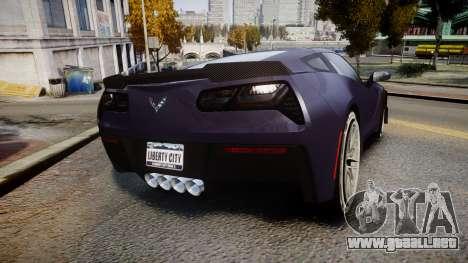 Chevrolet Corvette Z06 2015 TireMi4 para GTA 4 Vista posterior izquierda