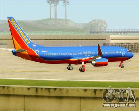 Boeing 737-800 Southwest Airlines para vista inferior GTA San Andreas