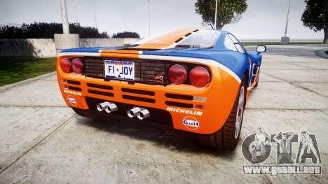 McLaren F1 1993 [EPM] Gulf 34 para GTA 4 Vista posterior izquierda
