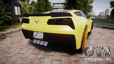 Chevrolet Corvette Z06 2015 TireGY para GTA 4 Vista posterior izquierda