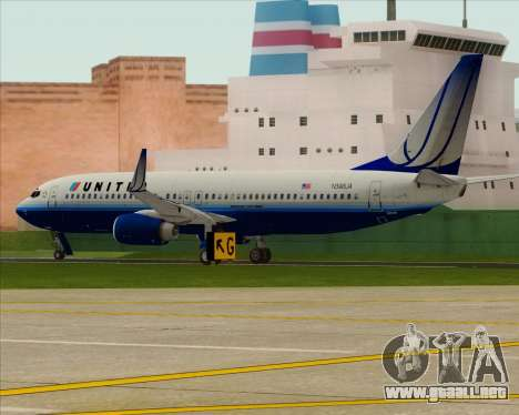 Boeing 737-800 United Airlines para la visión correcta GTA San Andreas