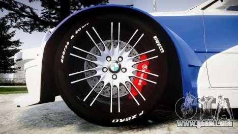 BMW M3 E46 GTR Most Wanted plate NFS para GTA 4 vista hacia atrás