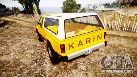 Karin Rebel 4x4 v2.0 retexture para GTA 4 Vista posterior izquierda