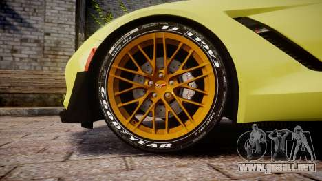 Chevrolet Corvette Z06 2015 TireGY para GTA 4 vista hacia atrás