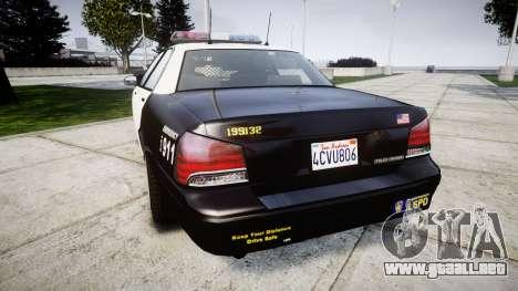 GTA V Vapid Police Cruiser Rotor para GTA 4 Vista posterior izquierda