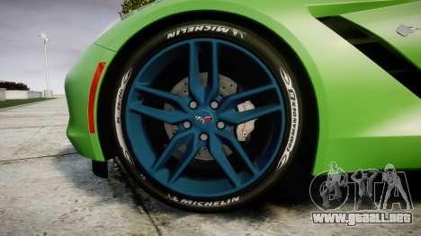 Chevrolet Corvette C7 Stingray 2014 v2.0 TireMi1 para GTA 4 vista hacia atrás