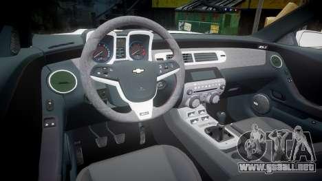 Chevrolet Camaro Z28 2014 para GTA 4 vista hacia atrás