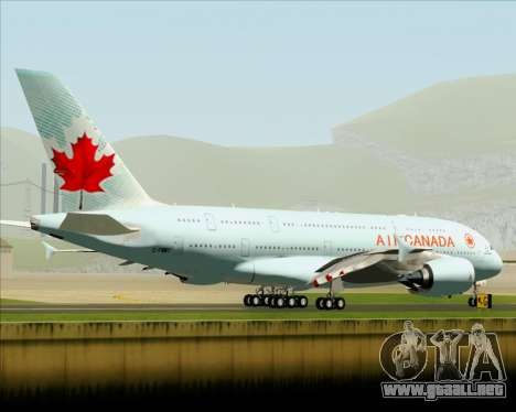 Airbus A380-800 Air Canada para GTA San Andreas vista hacia atrás