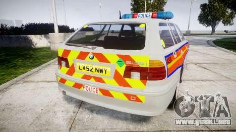 BMW 525i E39 Touring Police [ELS] JSARVV para GTA 4 Vista posterior izquierda