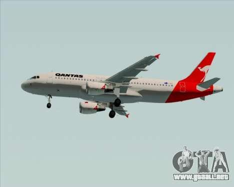 Airbus A320-200 Qantas para vista lateral GTA San Andreas