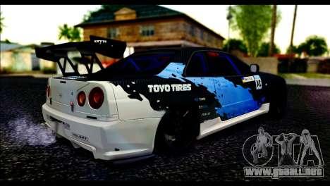 Nissan Skyline GT-R 34 Toyo Tires para GTA San Andreas left