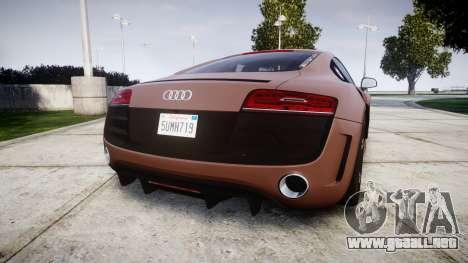Audi R8 plus 2013 Wald rims para GTA 4 Vista posterior izquierda