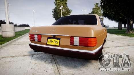Mercedes-Benz 560SEL W126 para GTA 4 Vista posterior izquierda