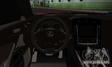 Lexus IS F para GTA San Andreas vista posterior izquierda
