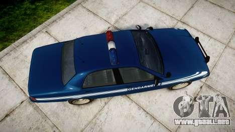 GTA V Vapid Police Cruiser Gendarmerie1 para GTA 4 visión correcta