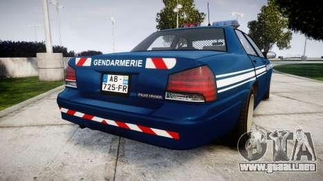 GTA V Vapid Police Cruiser Gendarmerie1 para GTA 4 Vista posterior izquierda