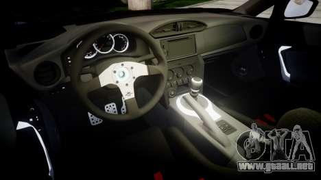 Subaru BRZ 2011 para GTA 4 vista interior