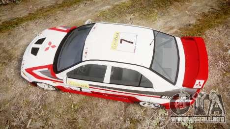 Mitsubishi Lancer Evolution VI Rally Edition para GTA 4 visión correcta