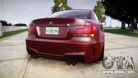 BMW 1M 2011 para GTA 4 Vista posterior izquierda