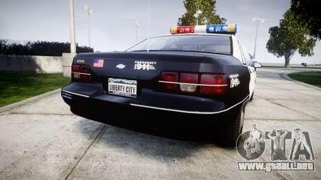 Chevrolet Caprice 1991 LAPD [ELS] Patrol para GTA 4 Vista posterior izquierda