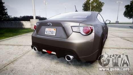 Subaru BRZ 2011 para GTA 4 Vista posterior izquierda