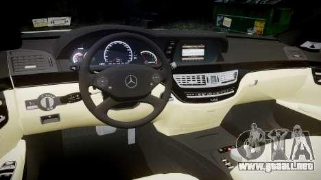 Mercedes-Benz S65 W221 AMG v2.0 rims2 para GTA 4 vista interior