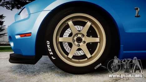Ford Mustang Shelby GT500 2013 para GTA 4 vista hacia atrás