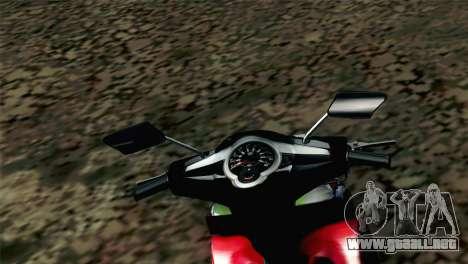 Jupiter Mx 2013 para GTA San Andreas vista posterior izquierda