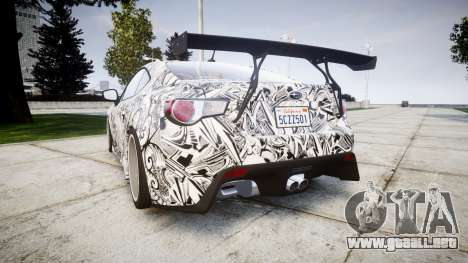 Subaru BRZ 2011 Sharpie para GTA 4 Vista posterior izquierda