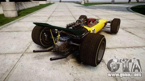 Lotus Type 49 1967 [RIV] PJ19-20 para GTA 4 Vista posterior izquierda