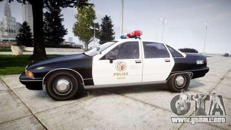 Chevrolet Caprice 1991 LAPD [ELS] Patrol para GTA 4 left